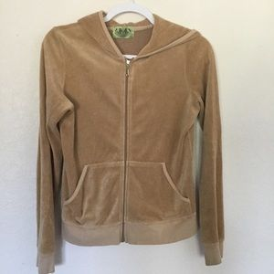 Juicy Couture Jacket Tan Brown Velvet Hoodie